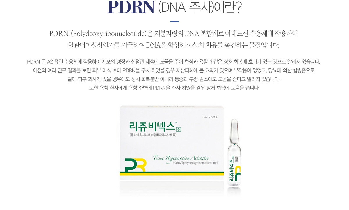 PDRN (DNA 주사)이란?PDRN (Polydeoxyribonucleotide)은 저분자량의 DNA 복합체로 아데노신 수용체에 작용하여 혈관내피성장인자를 자극하여 DNA을 합성하고 상처 치유를 촉진하는 물질입니다. PDRN 은 A2 퓨린 수용체에 작용하여 세포의 성장과 신혈관 재생에 도움을 주어 화상과 욕창과 같은 상처 회복에 효과가 있는 것으로 알려져 있습니다. 이전의 여러 연구 결과를 보면 피부 이식 후에 PDRN을 주사 하였을 경우 재상피화에 큰 효과가 있으며 부작용이 없었고, 당뇨에 의한 합병증으로 발에 피부 괴사가 있을 경우에도 상처 회복뿐만 아니라 통증과 부종 감소에도 도움을 준다고 알려져 있습니다. 또한 욕창 환자에게 욕창 주변에 PDRN을 주사 하였을 경우 상처 회복에 도움을 줍니다.